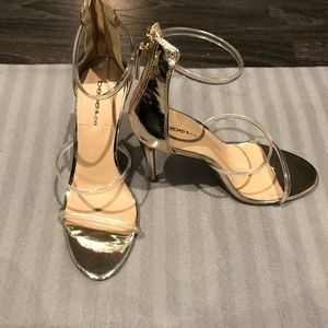 COPY - Bebe Gold with Clear Strap Heels
